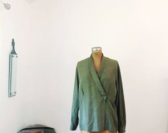 Vintage Green Rafaella Shawl Collar Blouse Silk Vintage Large Womens Retro