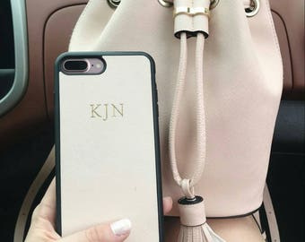 Cream Saffiano Leather Personalised Phone Case Iphone 6/6s