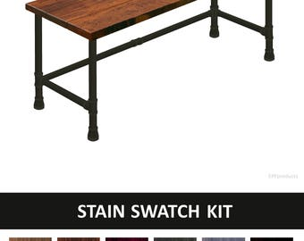 Wood And Pipe Desk, Industrial Modern Desk   STAIN SWATCH KIT (This Kit  Includes