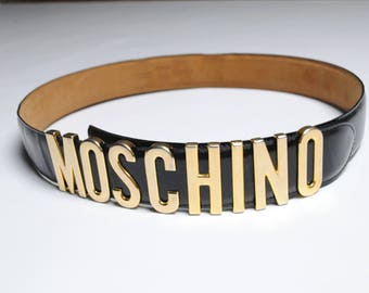 authentic Moschino Ladies black Leather Gold Letter Belt
