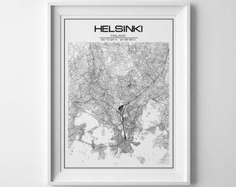 City map print, Helsinki map, Helsinki poster, Finland map, Finland poster, helsinki finland, map of helsinki, printable map, helsinki art