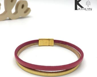 Double red leather and gold bracelet