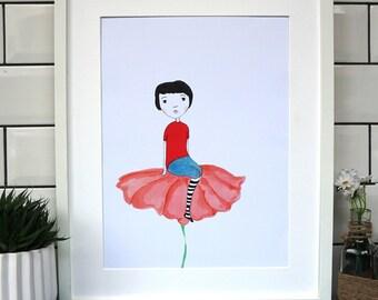 Flower girl, Flower Art, Melancholic girl with flower print, girl illustration