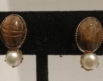 gold filled tiger eye screw back earrings