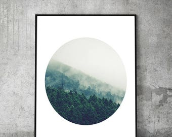 Forest,print,fog,tree,wall art,landscape,woods,photography,foggy,photo,nature,nordic,scandinavian,abstract,minimalism,gifts,digital download