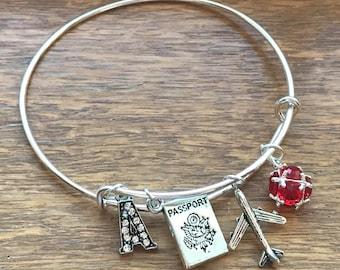 Custom Initial & Birthstone- Passport Airplane Traveler Pilot Flight Attendant Charm Adjustable Silver Bangle Bracelet Jewelry Gift