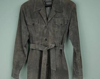 vintage gray suede coat with belt leather jacket