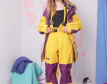 yellow ski suit size M, vintage two piece ski suit, retro trekking suit, skiing cstume, purple color block ski suit, snowsuit, ski clothing