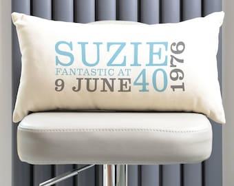 Personalised 40th Birthday Rectangular Cushion