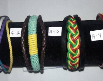 Leather & Hemp Colorful Bracelets