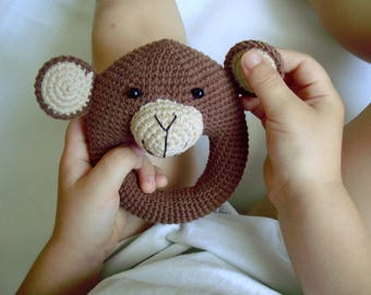 Crochet toy Crochet animal Rattles Amigurumi Crochet monkey Toys Crochet rattle Monkey Rattle Baby rattle Baby shower gift Organic baby toy
