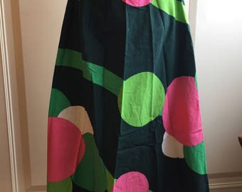 Vintage 60s 70s green+pink skirt/mod/Psychedelic