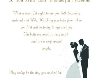 Like a Daughter & Husband Wedding Card