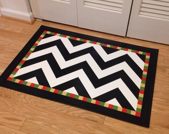 Hand Painted Floorcloth Harlequin Pattern Custom Colors