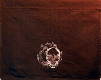 Skull towel, skull, Scary Halloween towel, tea towel, Black towel, Embroidered Tea Towel, Flour Sack Towel, Hand Towel, Halloween decor