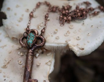 Electroformed antique skeleton key with turquoise nugget | turquoise necklace, copper key pendant, crystal key necklace,  turquoise gemstone