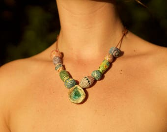 """Ceramic Beaded Necklace infused with Seaglass """"Lolita"""""""