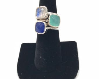 New design:  Sterling silver chalcedony stacking ring