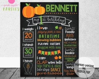 Pumpkin Boy Birthday Chalkboard - First Year Stats Pumpkins Orange Green, Little Pumpkin Chalkboard - Printed Poster OR Digital File