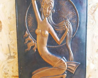 Vintage Copper Wall Hanging Embossed Copper Picture  copper art relief picture Asian Woman Wall Plaque Wall Decor Embossed Copper Art