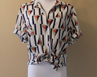 Navy Blue, Red and Yellow Sailboat Nautical Short Sleeve Button-up Blouse / Top - Retro Vintage Style Clothing