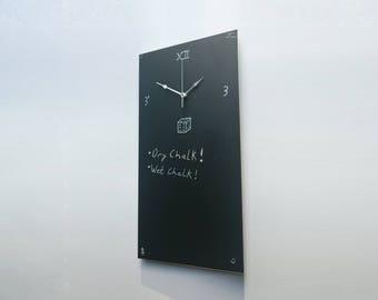 Premium 600mm Chalkboard Clock & Noteboard  |  4mm Aluminium  |  Blackboard Clock  |  Contemporary  |  Modern  |  Wall mounted  |  Floating
