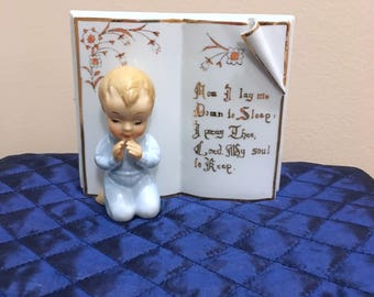 "Vintage Praying Boy ""Now I lay me down to sleep"" Ceramic Figurine/Wall Hanging"