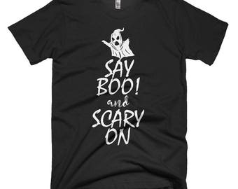 Say Boo and Scary On Halloween T-shirt, Halloween  Graphic T Shirt, Trick or Treat T-shirt,Women's T Shirt, Men's T Shirt,Men's Funny Shirt