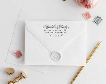 "Wedding Stamp Address Stamp Two Names, RSVP Address Stamp for Wedding, Return Address Stamp Wedding Stamp Personalized | 3"" x 1.5"""