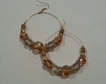 Gold And Clear Glass Bead Hoop Earrings With Rhinestones And Gold Accents