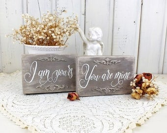 Vintage style small wedding decorations I am yours You ar mine sign Love story art Engagement party Romantic gift I love you sign Bride gift