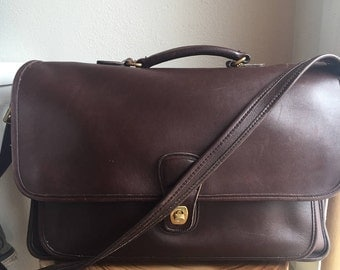 vintage Coach chocolate brown briefcase