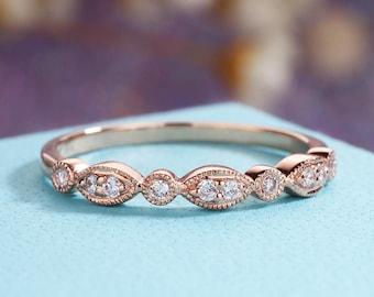 Rose Gold Wedding Band Women Art Deco Anique Diamond Milgrain Vintage Bridal Set Stacking Ring Half Eternity Unique White Gold Gift For Her