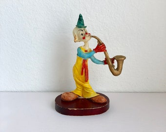 Vintage Jazz Clown Figurine / Clown Playing Saxophone / Clown Decor