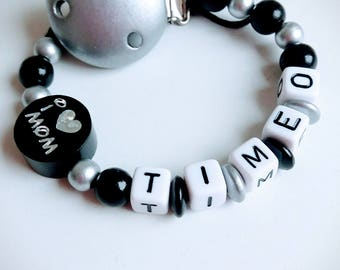 "Personalized pacifier ""I love mom/dad"" black and silver - model ""Timeo"""