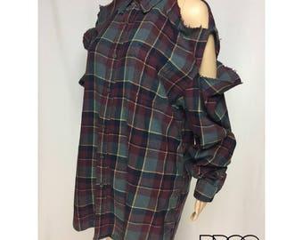 OVERSIZED Plaid Flannel REWORKED Vintage Button Down Open Shoulder