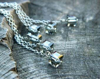 Inspirational womens gift crystal drop earrings, beaded dangle earrings, Crystal Earrings,  silver dangle earrings, Geometric earrings, Gift