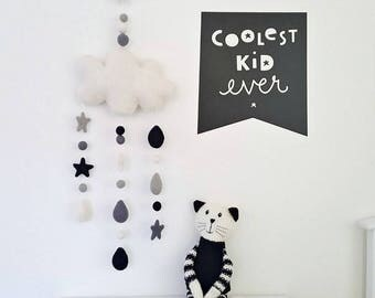 Monochrome Cloud Mobile, Baby Mobile, Crib Mobile, Nursery Mobile, Cot Mobile, Felt Mobile, Felt Ball Mobile, Baby Boy Mobile, Baby Shower
