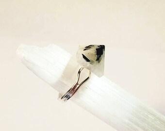 Rainbow Moonstone Crystal Pyramid Silver Ring