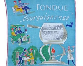 Hankie Recipe Swiss Fondue bourguignonne Fifties 50s Vintage