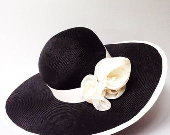 Black straw hat  for mother of the bride and wedding guest. Designer church hat. Kentucky derby hats for fashionable  ladies
