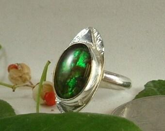 Ammolite Ring Size 6 1/4 Sterling Silver Large Dragon Eye Boho Utah Gem fossil Statement Ring Green Orange Yellow Fire 322G
