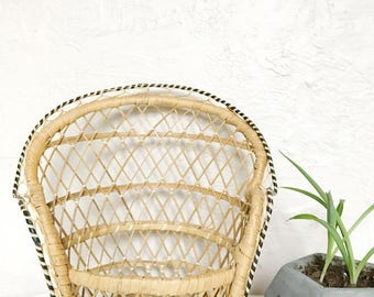 Woven wicker doll chair, plant stand chair, indoor boho plant basket
