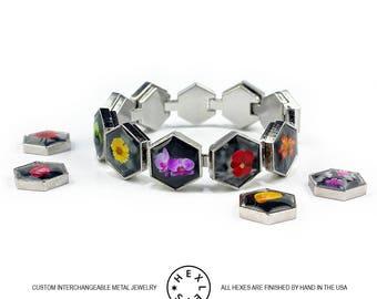 Color Splash Flowers Bracelet - Silver or Black - Interchangeable Artwork