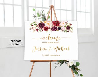 Wedding Welcome Sign, Wedding Welcome Sign Printable, Burgundy Wedding welcome sign, Gold Wedding Welcome Sign, Marsala Wedding Welcome Sign