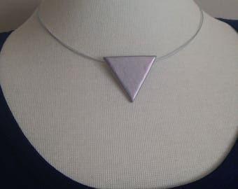 Silver Iridescent Geometric Pendant Necklace- Minimalistic Style