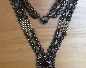 "Fine beaded ""Medieval"" pendant necklace"