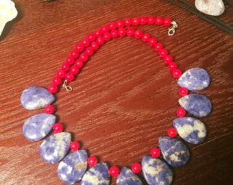 Red Coral & Sodalite Necklace