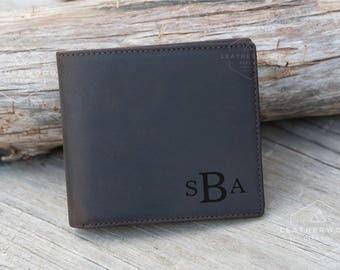 Personalized Wallet, Mens Leather Wallet, Monogram Wallet, Crazy Horse Leather, Gifts for Dad, Gifts for Him, Custom Leather Wallet