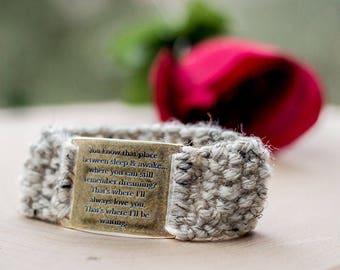 Handmade Bracelet - Knit Bracelet - Peter Pan - Peter and Wendy - Quote Bracelet - Handmade Accessory - Knit Accessory - Knit Jewelry